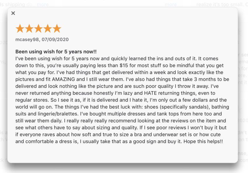 Wish App Review- stars throw it away