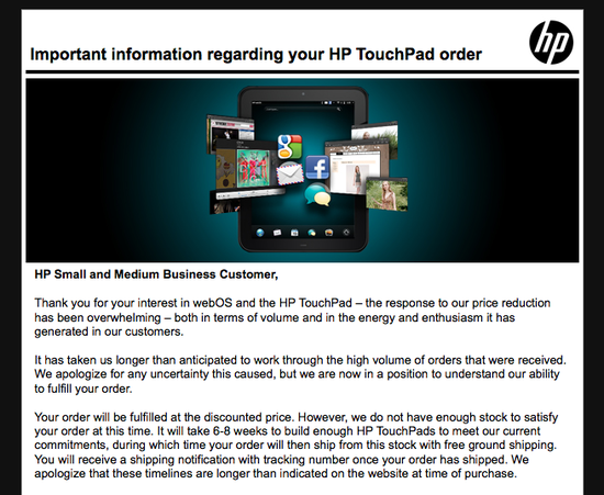 HP TouchPad Email