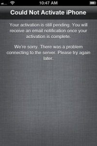 Activation Failure Screen