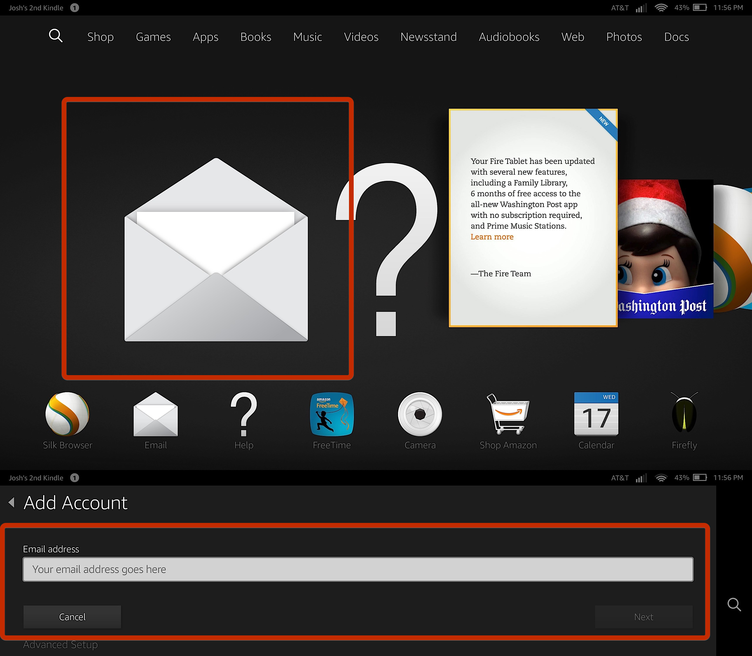 Now add your email accounts to the Fire HD or Fire HDX.
