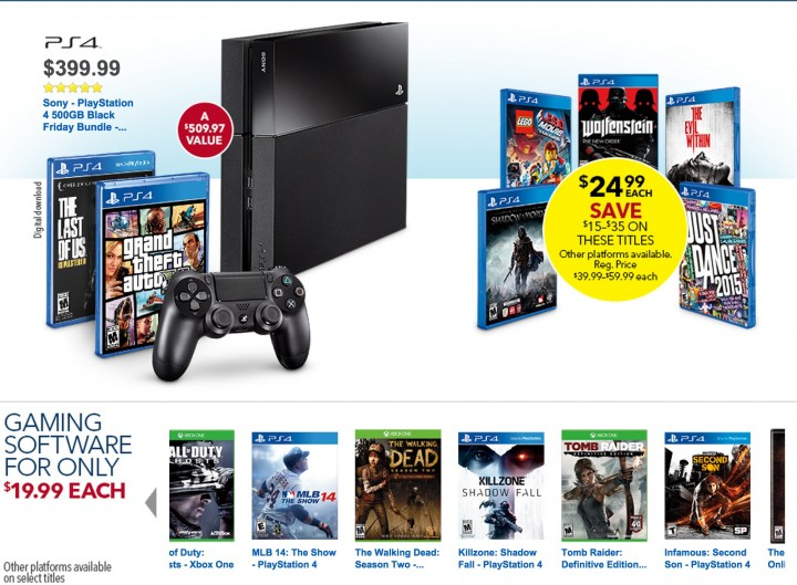 Xbox One & PS4 Black Friday Deals