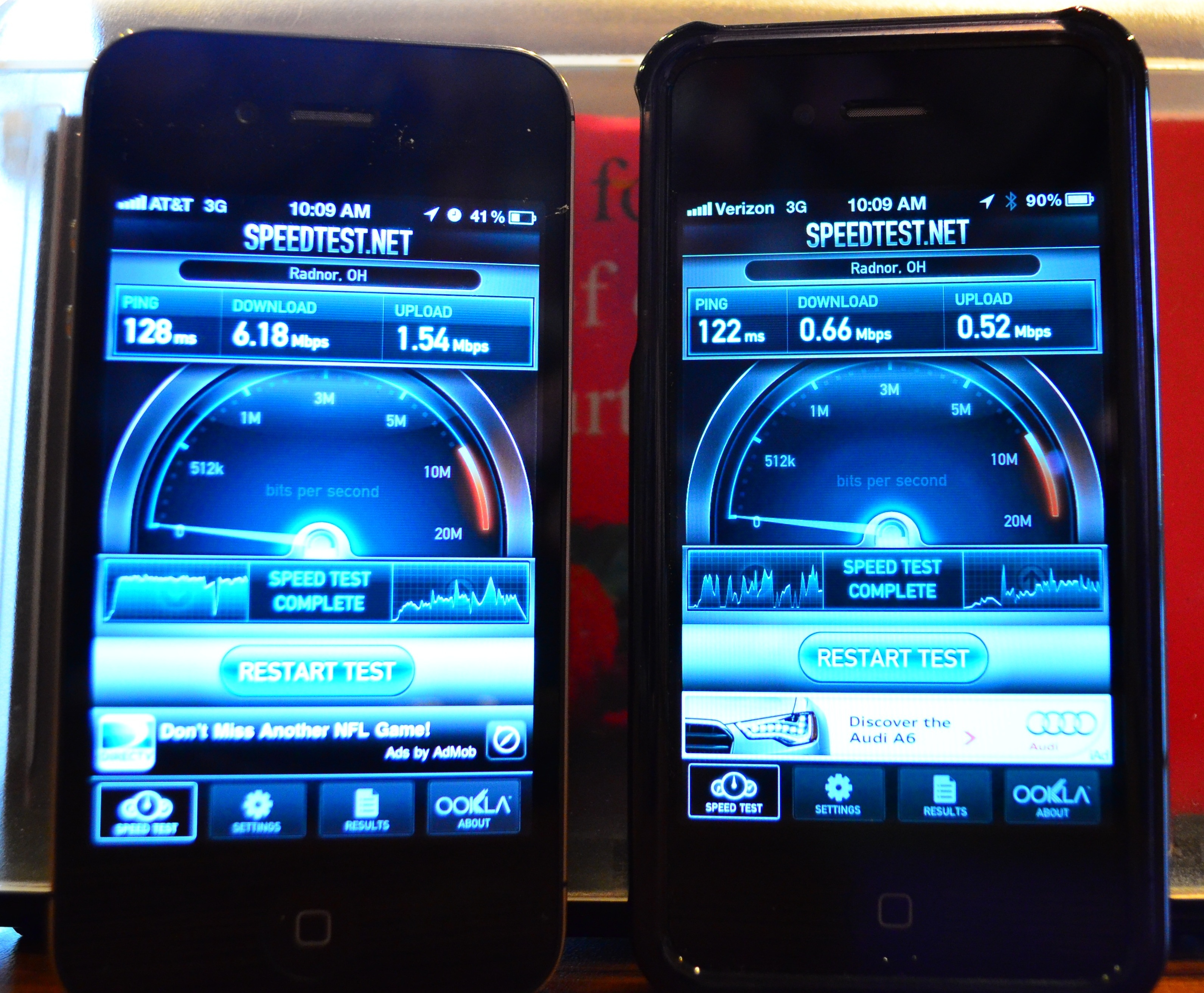 iPhone 4S 3G Speed Test: AT&T vs. Verizon (Midwest)