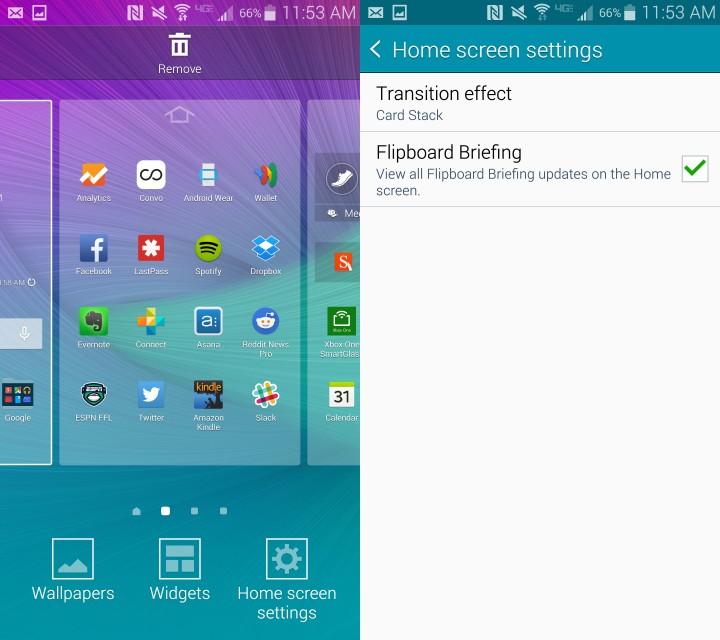 Turn off the Galaxy Note 4 Flipboard home screen.