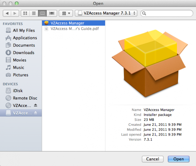 How to make VZAccess Manager Work on Lion