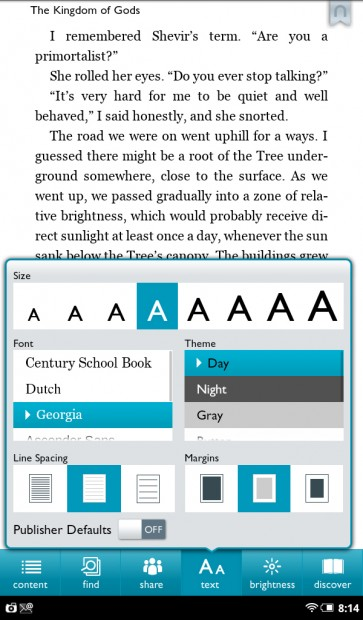 Nook Tablet Book Settings