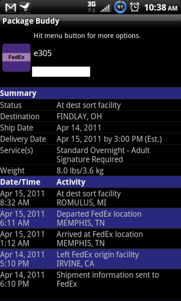 Fedex and UPS tracking on Android