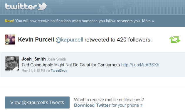 Retweet email notification twitter