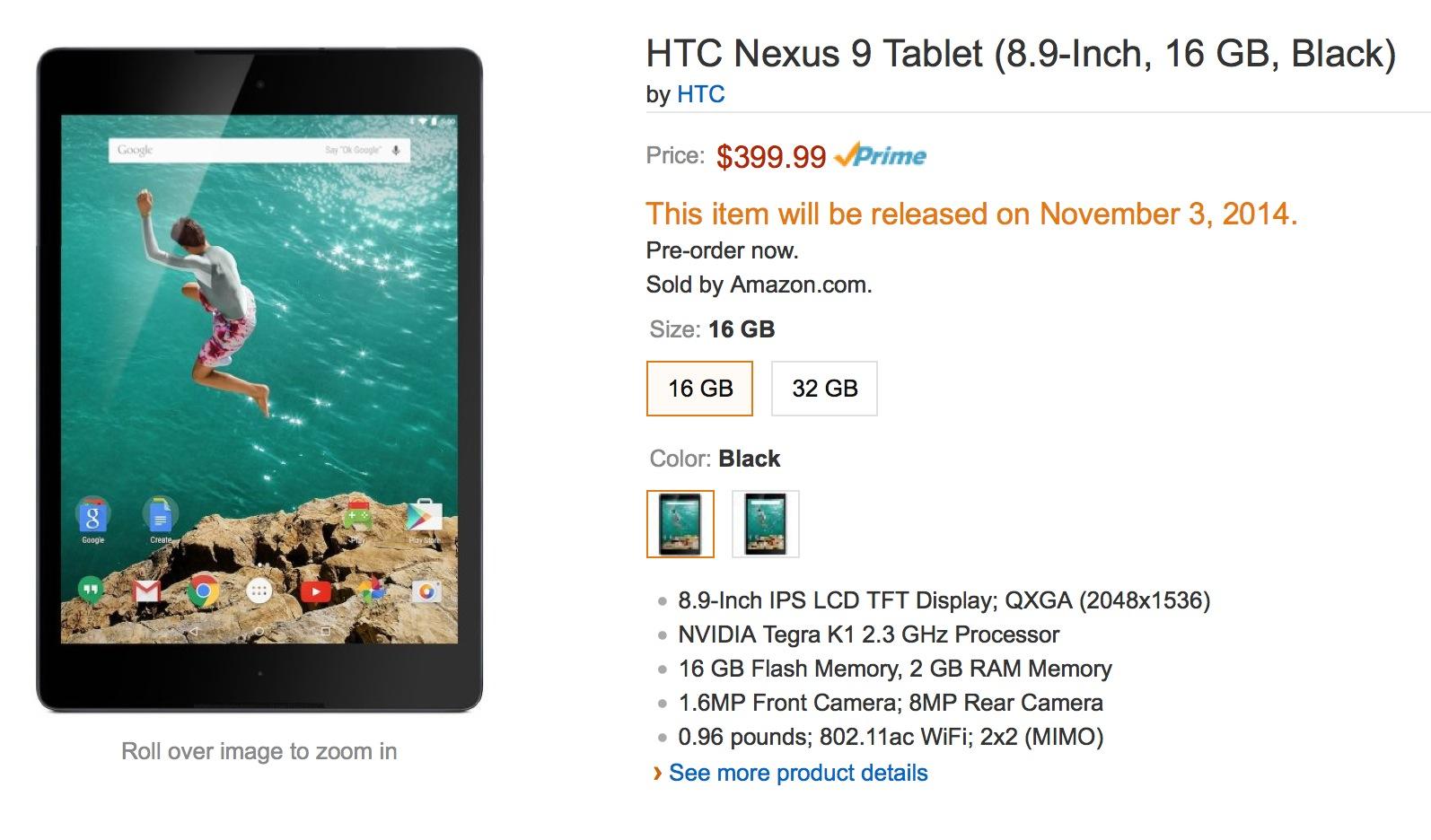 Nexus 9 Tablet Pre Orders