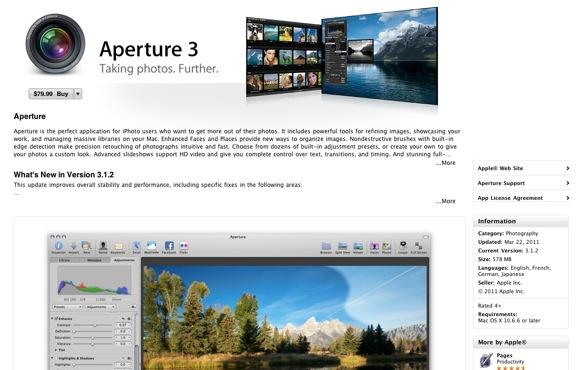 Aperture 3 in Mac App Store