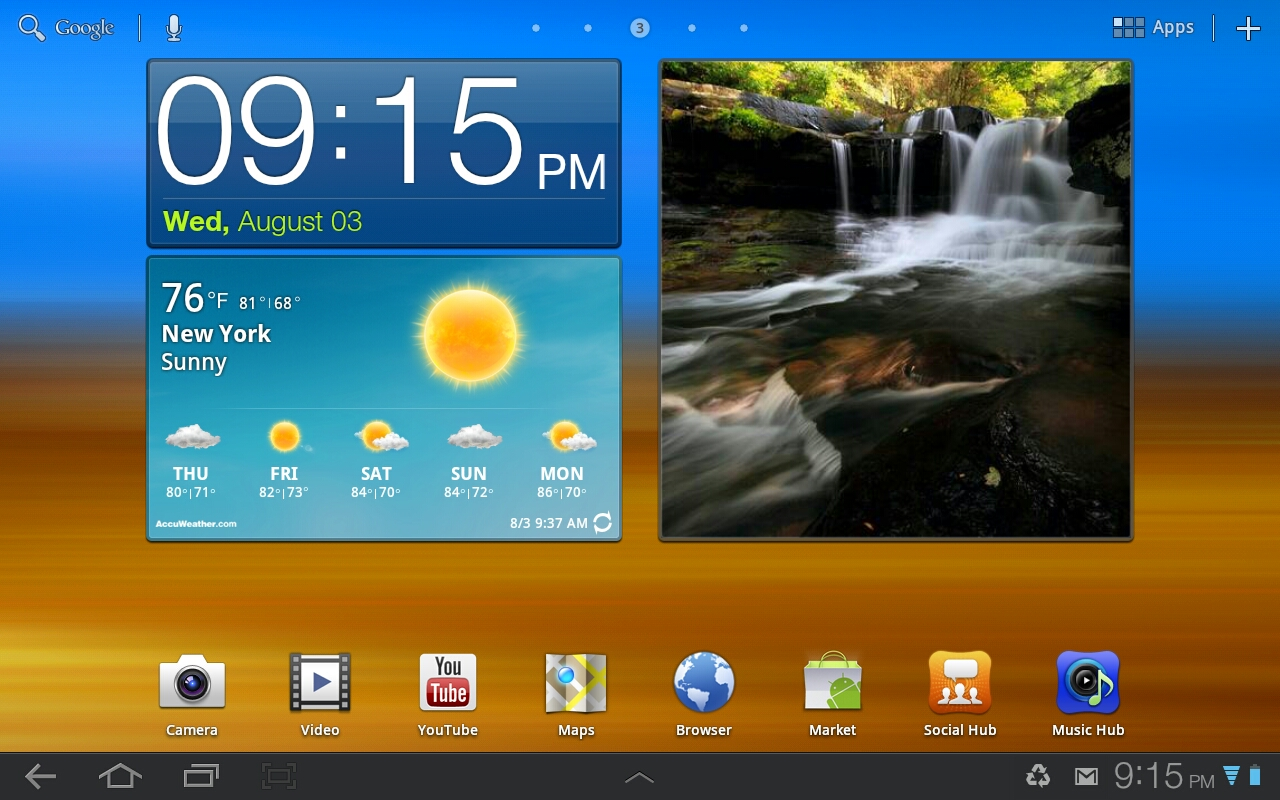 TouchWiz Home Screen Galaxy Tab