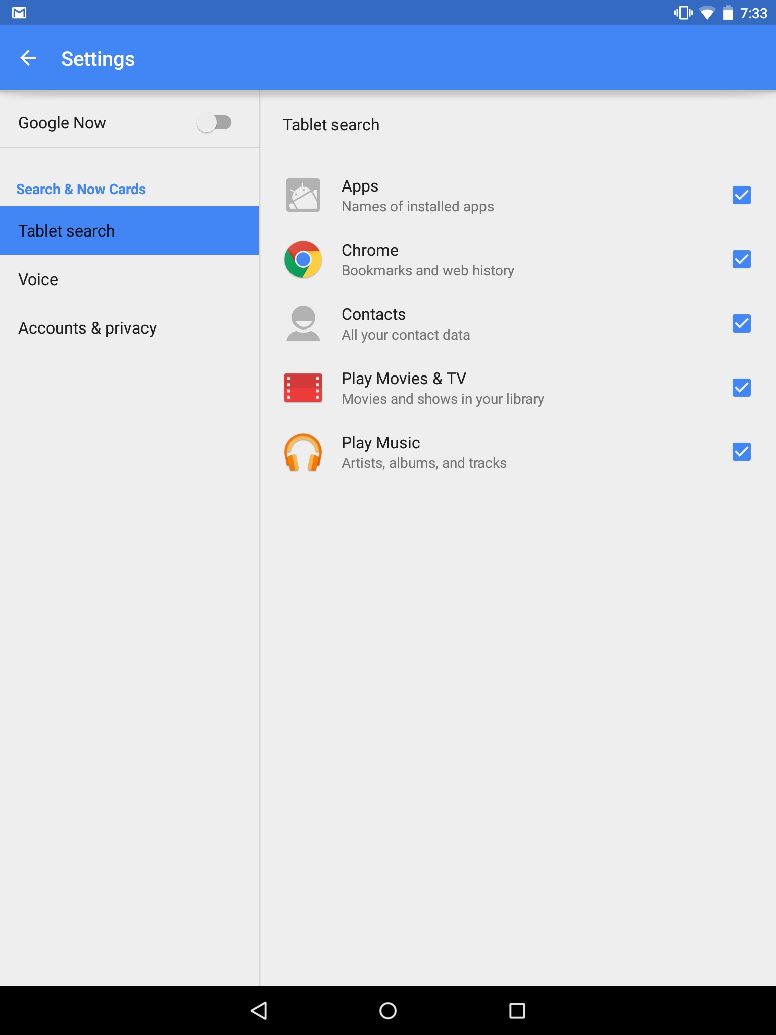 google now settings