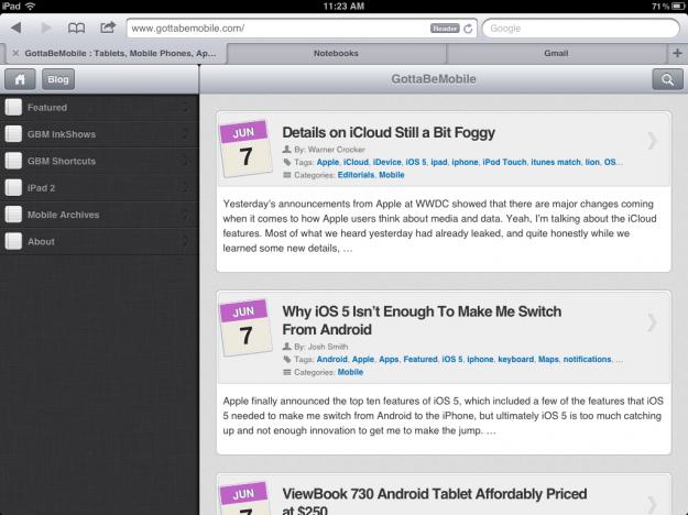 iPad iOS 5 Tabbed Browsing