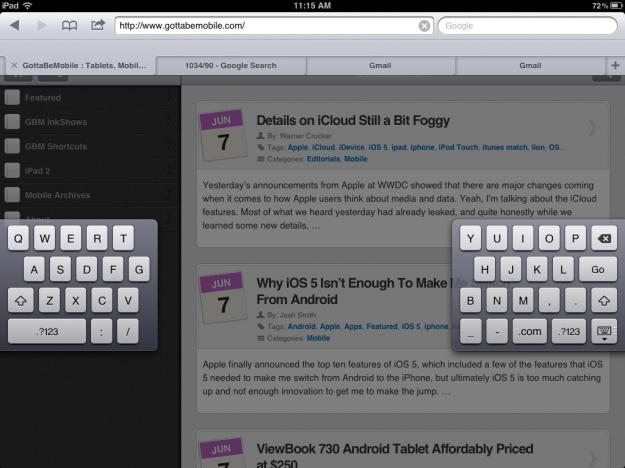 iPad iOS 5 split keyboard