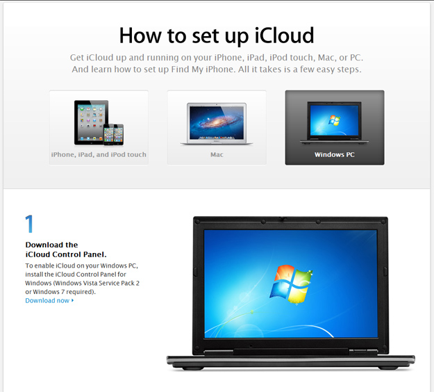 iCloud Control Panel Download Page