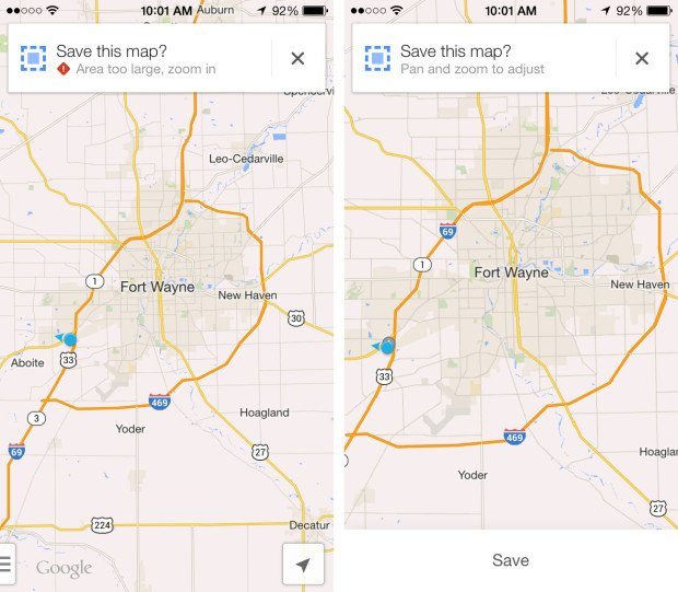 You can use Google Maps offline on the iPhone.
