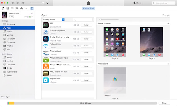 itunes ipad air settings page