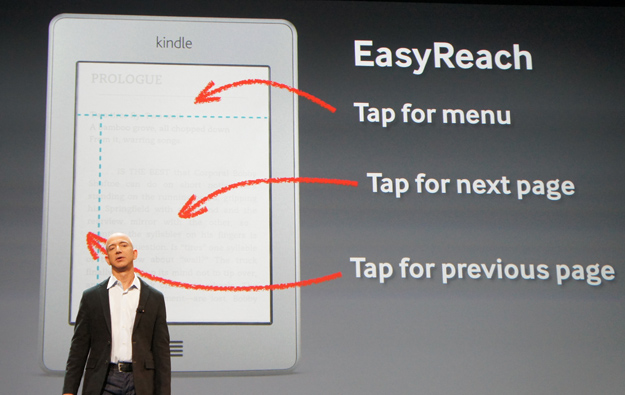 Kindle Touch screen tapping zones