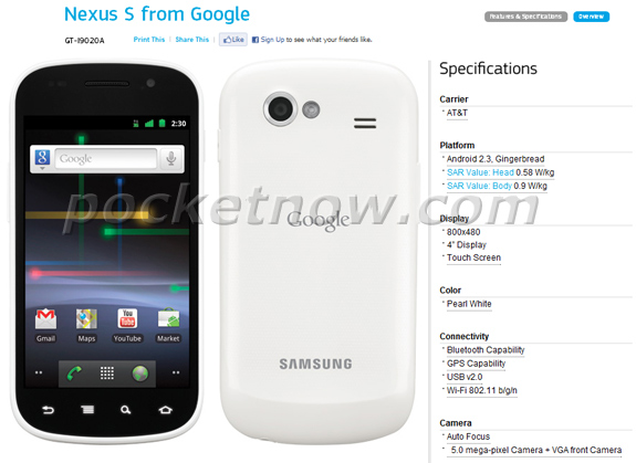 White Nexus S for AT&T