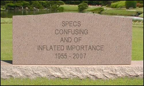 specs are dead tombstone