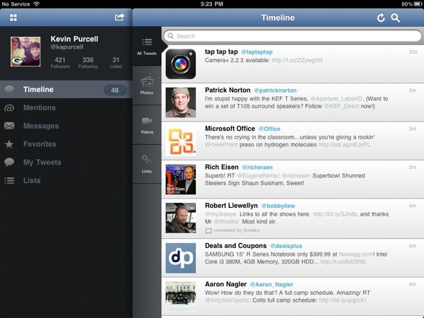 TweetCaster Pro Landscap Mode