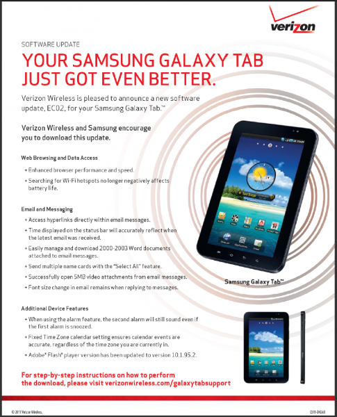 Verizon Galaxy Tab Update