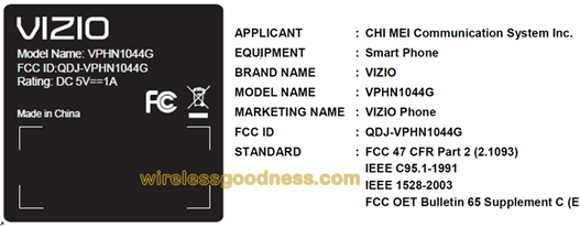 Vizio Android Smartphone at FCC
