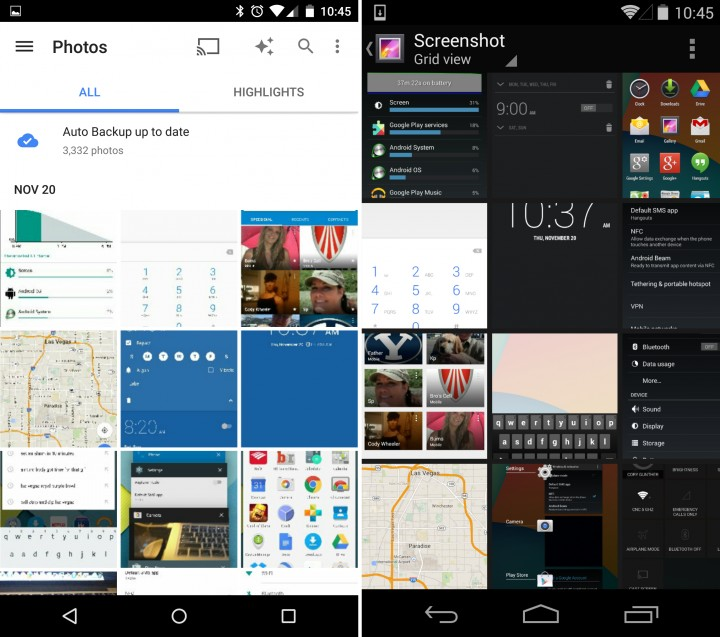 Android 5.0 vs Android 4.4 - Gallery
