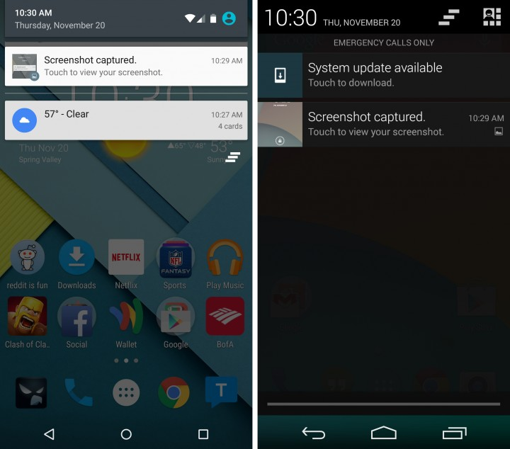 Android 5.0 vs Android 4.4 - Notifications